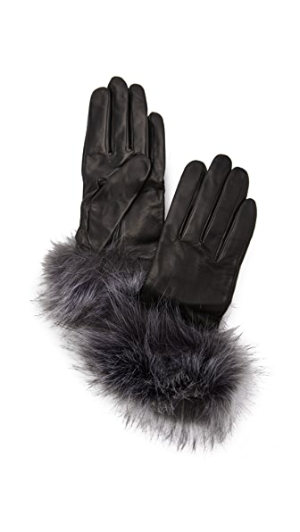 Kate Spade New York Fox Faux Fur Gloves