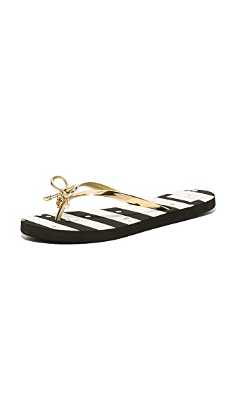 Kate Spade New York Nova Flip Flops - Gold/Black/White