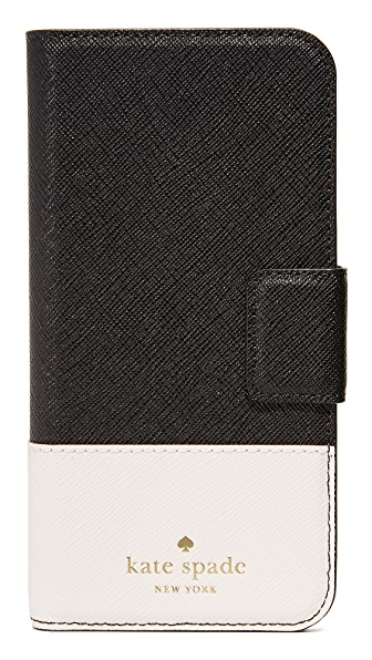 Kate Spade New York Leather Wrap Folio iPhone 7 Case - Black/Cement