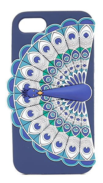 Kate Spade New York Silicone Peacock iPhone 7 Case - Blue Multi