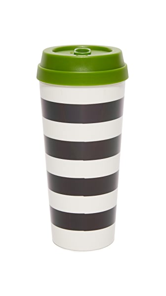 Kate Spade New York Black Stripe Thermal Mug - Black/White/Green