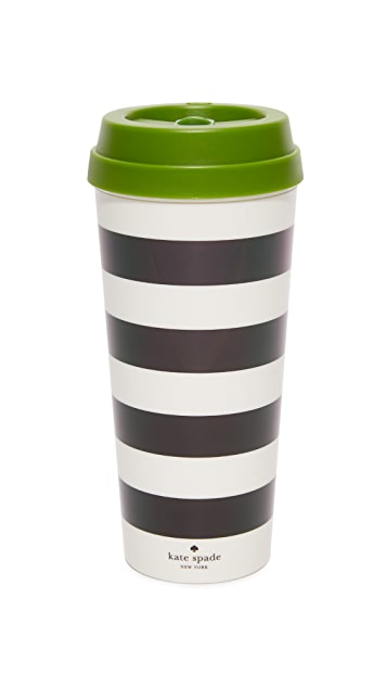 Kate Spade New York Black Stripe Thermal Mug