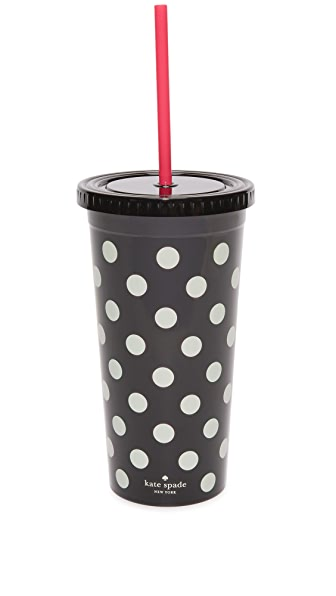 Kate Spade New York Le Pavillion Dots Tumbler In Black Dots