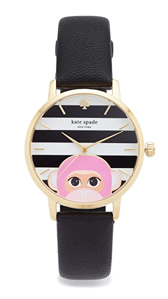 Kate Spade New York Novelty Leather Watch - Black/White/Gold