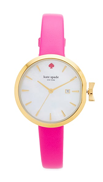 Kate Spade New York Park Row Leather Watch - Pink/White/Gold