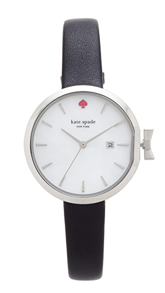 Kate Spade New York Park Row Leather Watch - Black/White/Stainless Steel