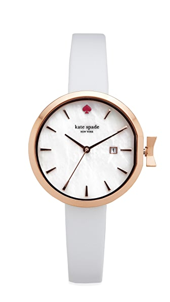 Kate Spade New York Park Row Leather Watch - White/Rose Gold