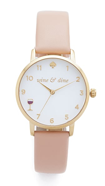 Kate Spade New York Metro Wine & Dine Leather Watch at Shopbop