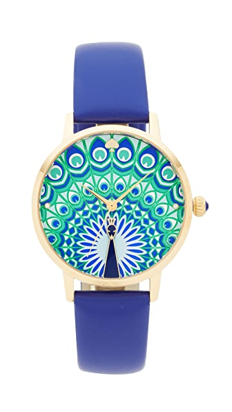 Kate Spade New York Novelty Leather Watch - Blue/Gold