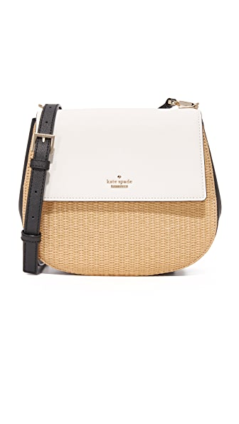 Kate Spade New York Straw Byrdie Saddle Bag