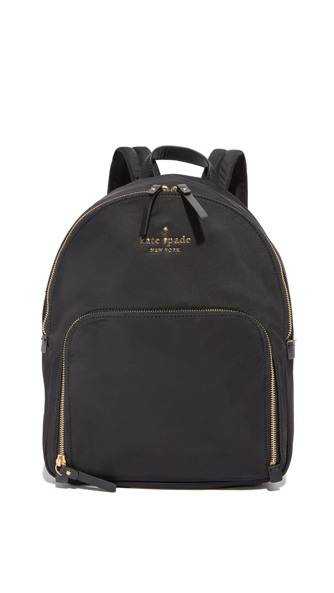 A compact Kate Spade New York backpack rendered in smooth nylon weave. Logo letters and a zip pouch pocket detail the front. Lined, single pocket interior. Padded, adjustable shoulder straps. Dust bag included. Fabric: Nylon weave.
