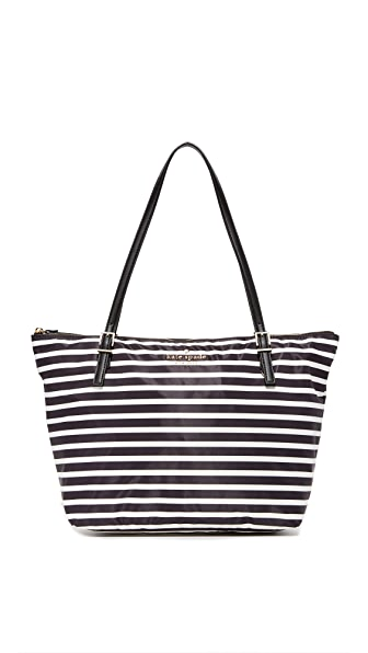 Kate Spade New York Watson Lane Maya Nylon Tote - Black/Clotted Cream