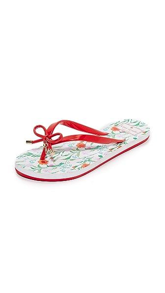 Kate Spade New York Nova Flip Flops In Maraschino Red/White