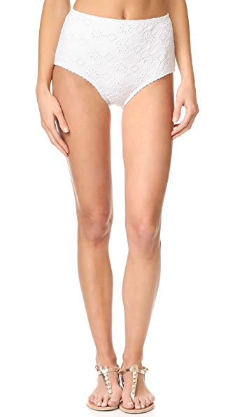 Kate Spade New York Embroidered High Waist Bikini Bottoms