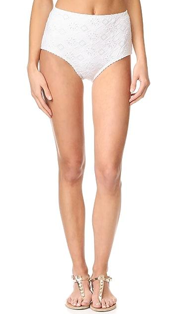 Kate Spade New York Embroidered High Waist Bikini Bottoms