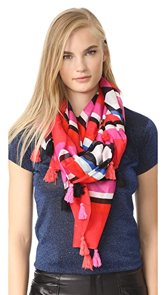 Kate Spade New York Geo Border Oblong Scarf - Cherry Pepper