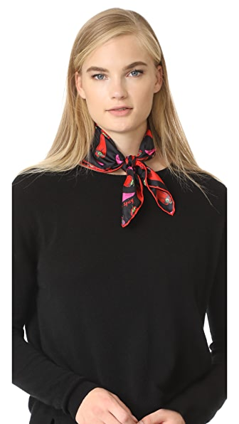 Kate Spade New York Hot Pepper Silk Bandana - Black