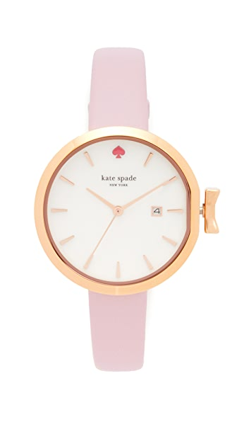 Kate Spade New York Park Row Leather Watch In Pink/White/Rose Gold