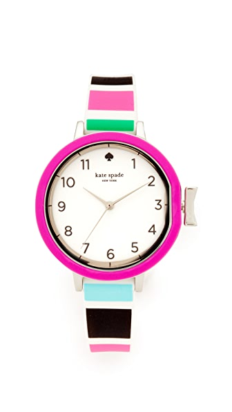 Kate Spade New York Park Row Silicone Watch In Multi/Stainless Steel