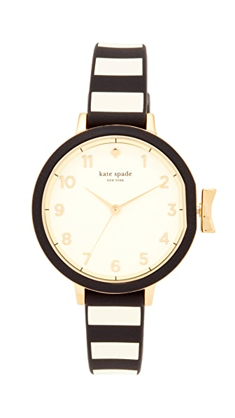 Kate Spade New York Park Row Silicone Watch - Black/White/Gold