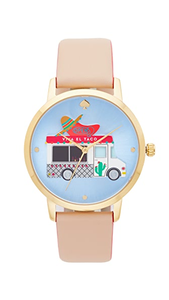 Kate Spade New York Novelty Leather Watch - Pink/Multi/Gold