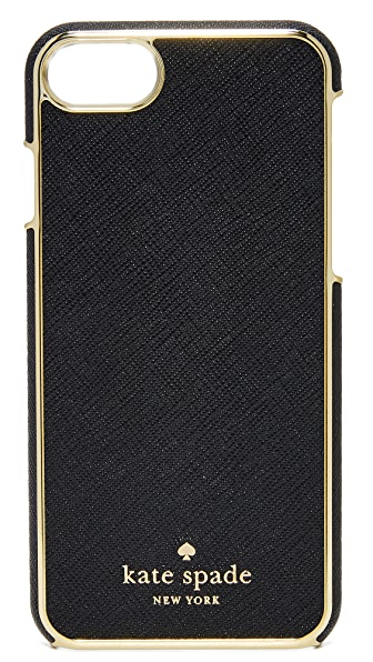 Kate Spade New York Leather Inlay iPhone 7 Case In Black