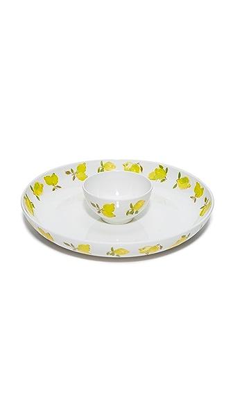 Kate Spade New York Lemon Melamine Chip & Dip Bowl