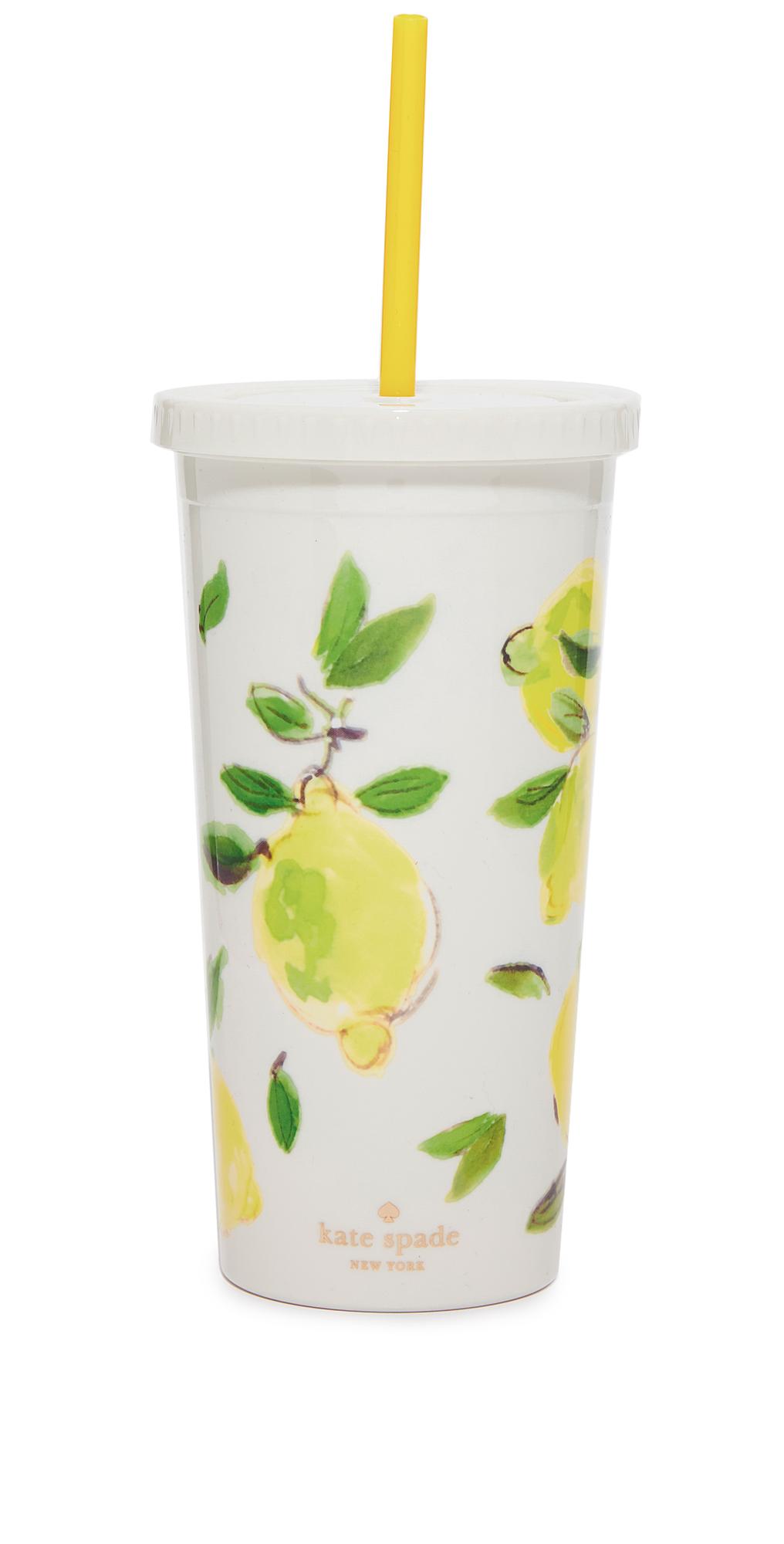 Lemon Tumbler with Straw Kate Spade New York