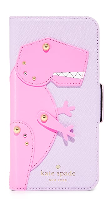 Kate Spade New York Dino Applique Folio iPhone 7 Case
