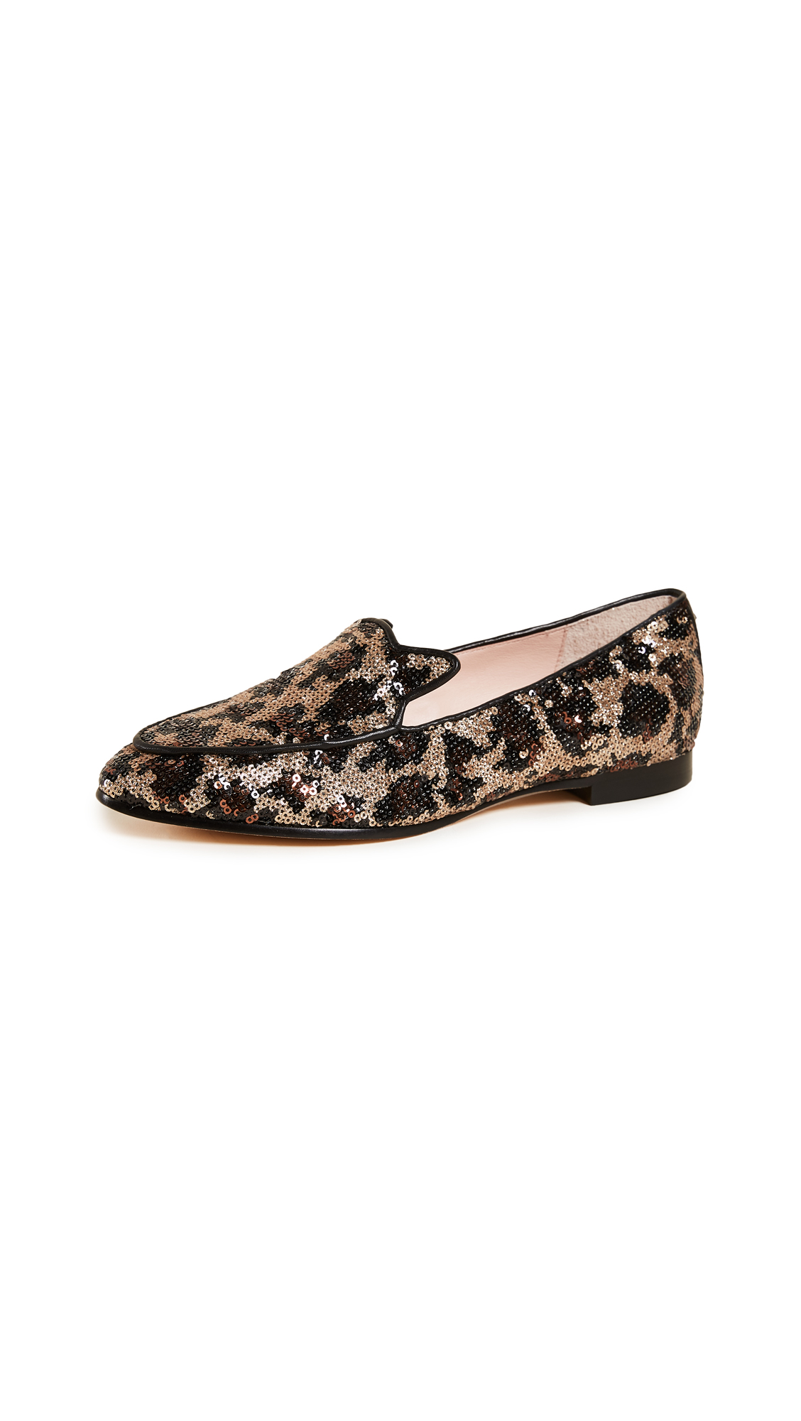 Kate Spade New York Caty Sequin Slip On Loafers - Black/Gold Leopard