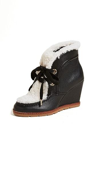 Kate Spade New York Sandy Wedge Shearling Booties In Black