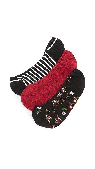 Kate Spade New York Bloom Floral 3 Pack Sock Set - Black