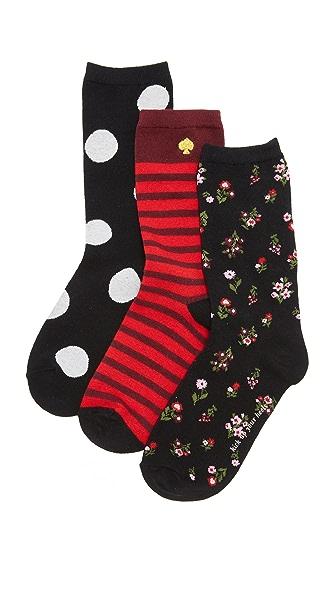 Kate Spade New York In Bloom Floral 3 Pack Sock Set - Black