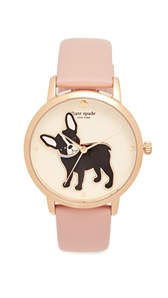 Kate Spade New York Novelty Leather Watch In Pink/Multi/Gold