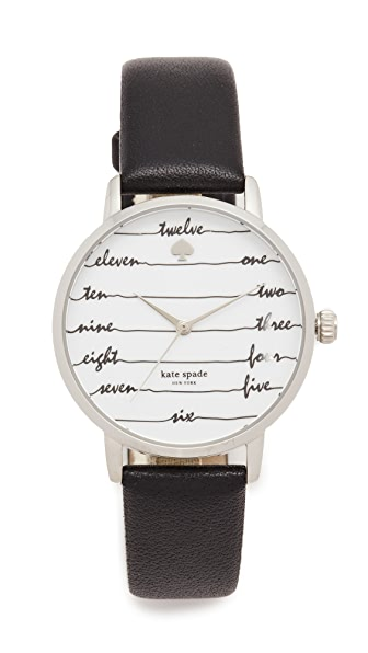 Kate Spade New York Chalkboard Leather Watch - Black/White/Silver