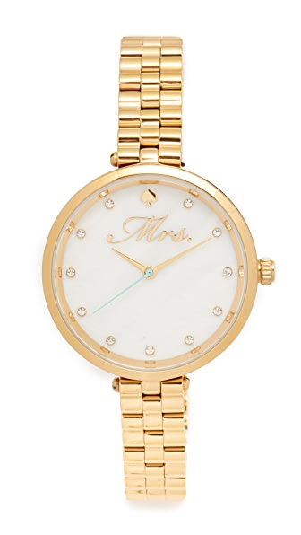 Kate Spade New York Mrs. Bridal Watch In Gold/Mother Of Pearl