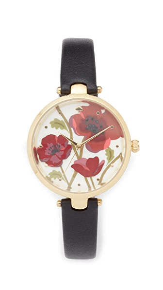 Kate Spade New York Novelty Leather Watch, 34mm In Black/Multi/Gold