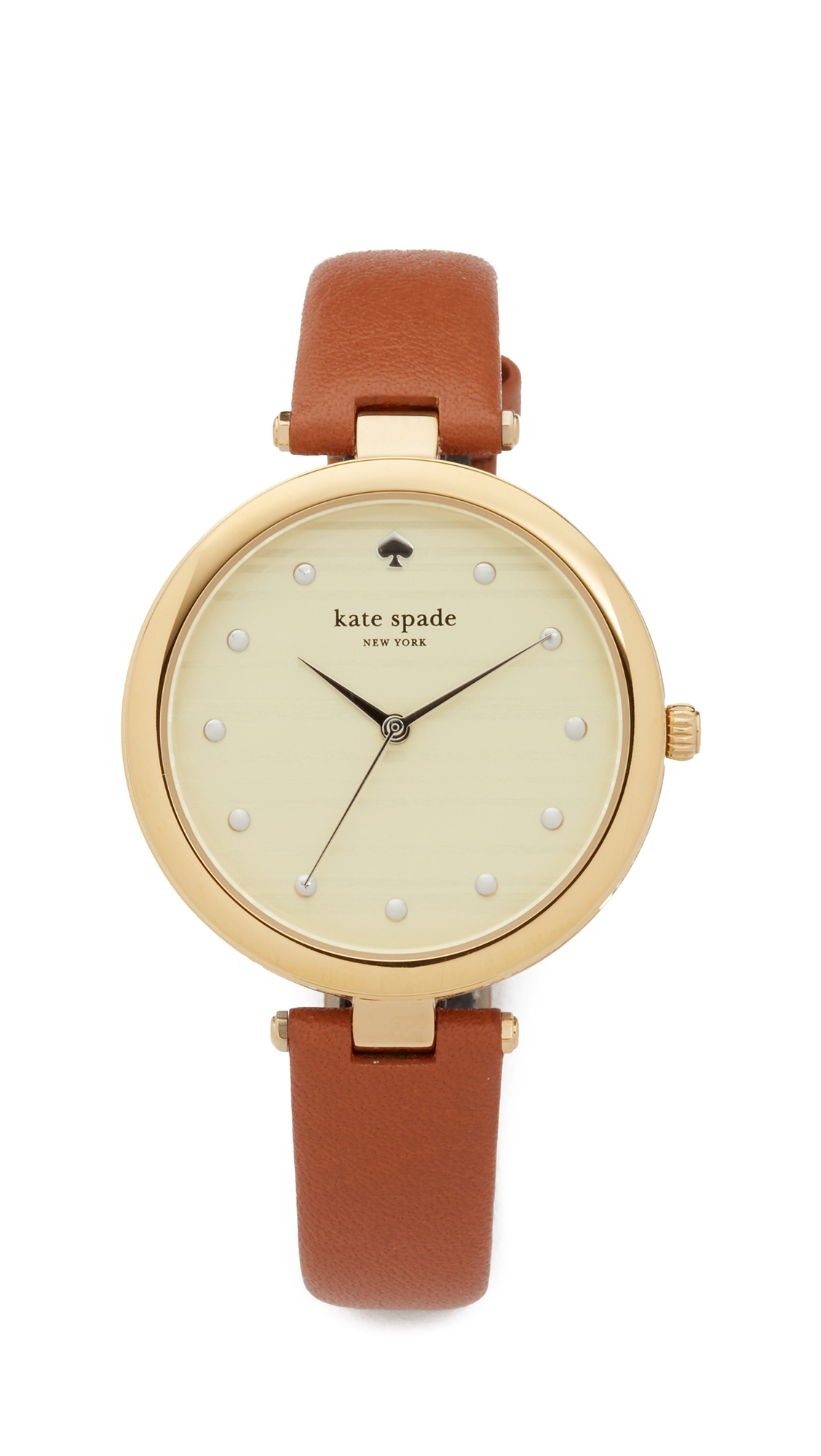 Kate Spade New York Varick Stripe Leather Watch, 36mm - Brown/Gold