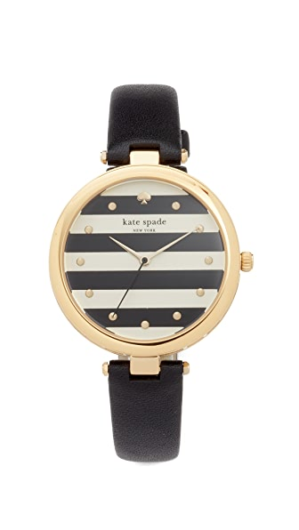 Kate Spade New York Varick Stripe Leather Watch, 36mm In Black/White/Gold