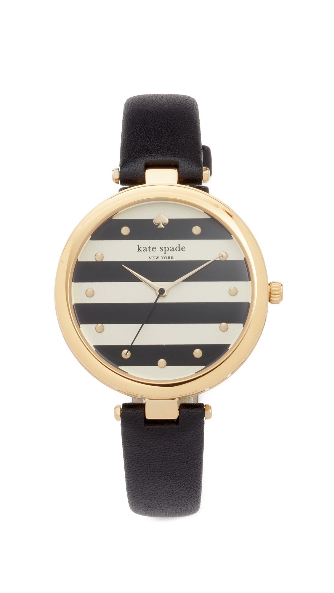 Kate Spade New York Varick Stripe Leather Watch, 36mm - Black/White/Gold