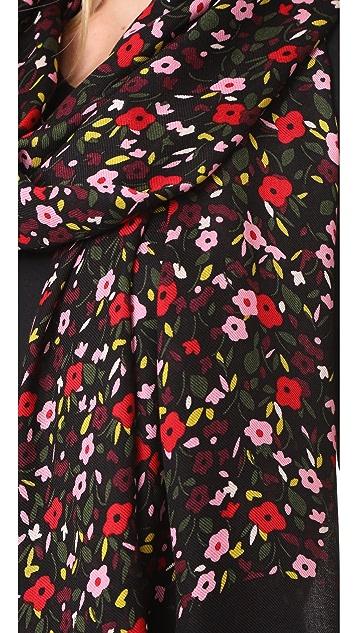 Kate Spade New York Bohemian Floral Oblong Tassel Scarf