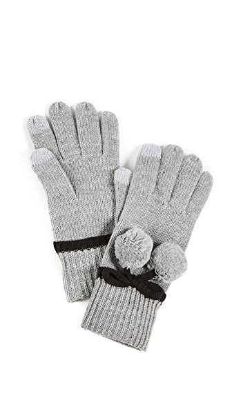 Kate Spade New York Bow Pom Gloves In Heather Grey