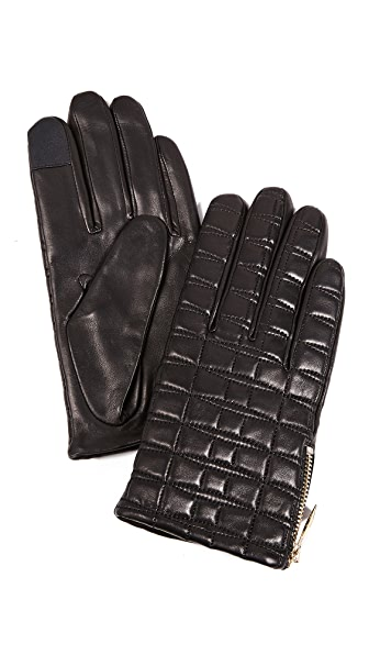 Kate Spade New York Bow Quilted Tech Gloves In Black