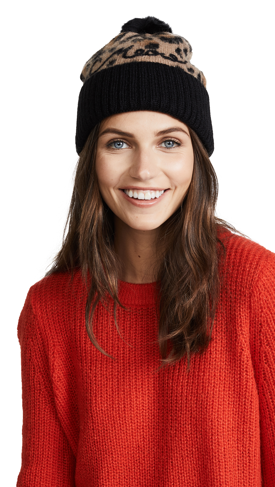 Kate Spade New York Brushed Beanie - Natural Leopard Combo