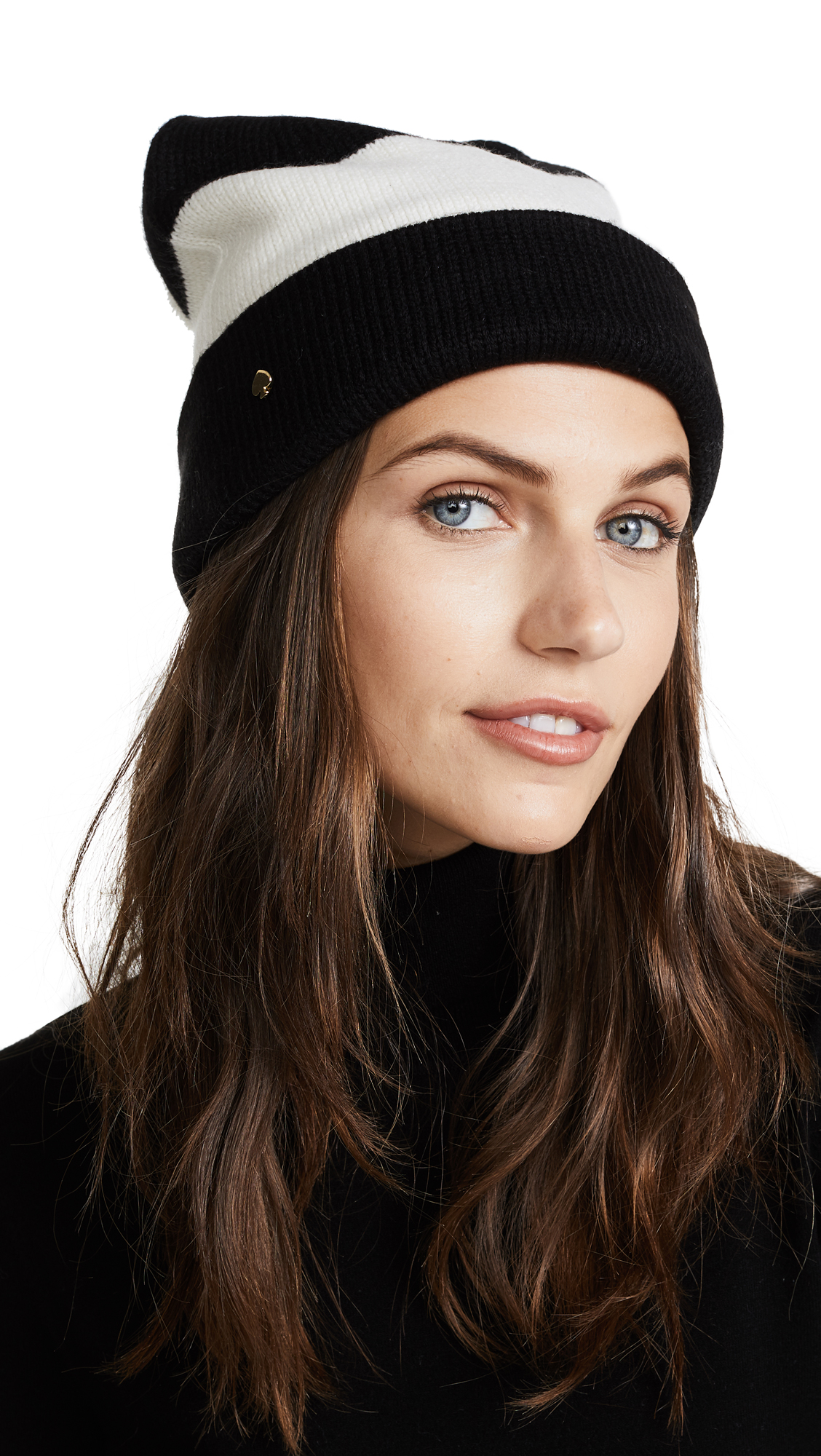 Kate Spade New York Stripe Beanie - Cream/Black