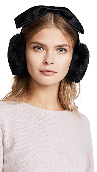 Kate Spade New York Earmuffs with Satin Bow In Black