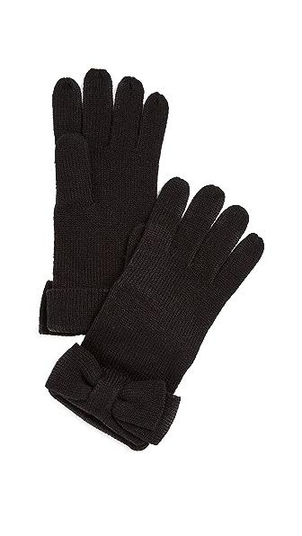 Kate Spade New York Half Bow Gloves In Black