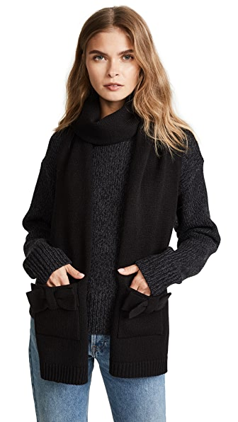Kate Spade New York Half Bow Muffler Scarf In Black