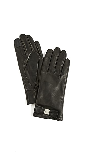 Kate Spade New York Hardware Bow Tech Gloves In Black
