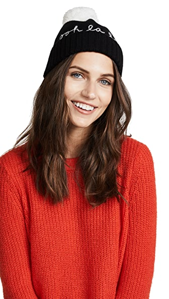 Kate Spade New York Ooh La La Beanie In Black/Cream